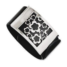 Chisel Stainless Steel Black Genuine Leather with Polished Flowers Wrap Bracelet