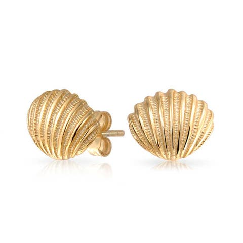 Nautical Beach Sea Stud Earrings Gold Plated 925 Sterling Silver