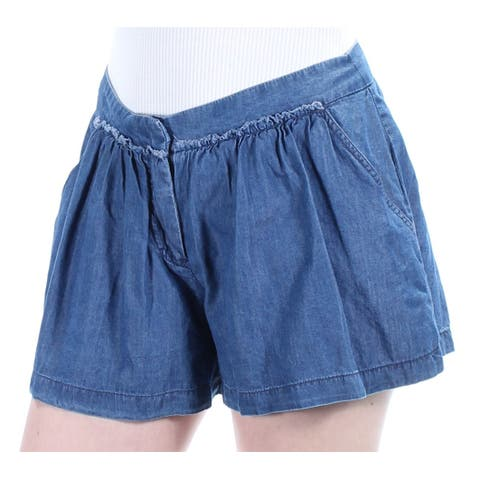 MAX STUDIO Womens Blue Pleated Short Size: 4
