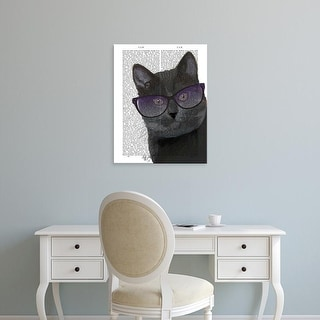 Easy Art Prints Fab Funky's 'Black Cat with Sunglasses' Premium Canvas Art
