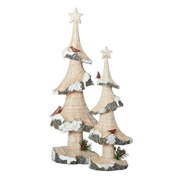 """14"""" Brown and White Log Tree Cardinal Christmas Decoration Table Topper"""