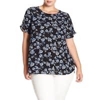 DR2 Blue Women's Size 1X Plus Floral Print Back Keyhole Blouse