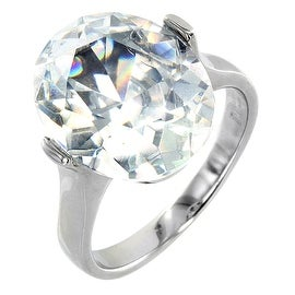 Stainless Steel Women's CZ Ring - Size 6