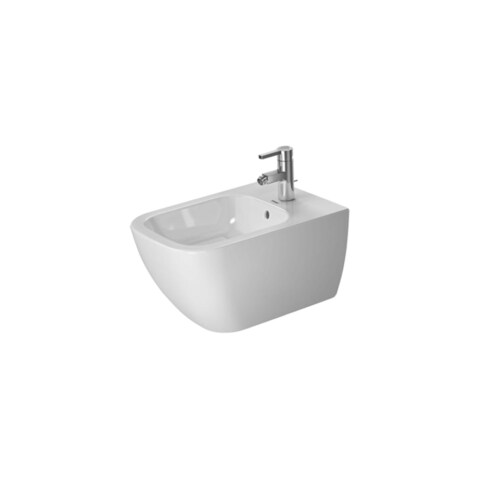 Duravit 2258150000 Happy D.2 Wall Mounted Rectangular Horizontal Spray Bidet with Single Faucet Hole Drilling - White - N/A