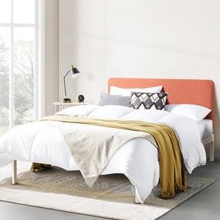 KERT Metal Platform Bed with Fabric Headboard Sunset Coral
