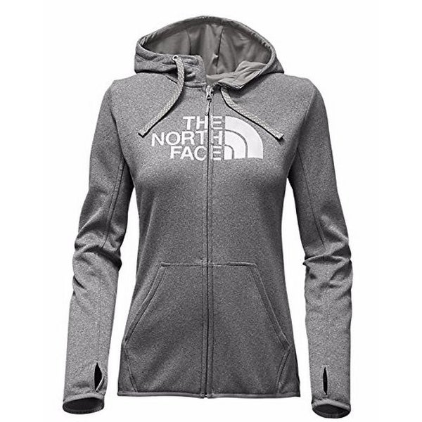 North Face Womens W FAVE HALF DOME FULL ZIP HOODIE, TNF Medium Grey Heather (STD)/TNF White, M