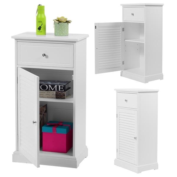Shop Costway White Storage Floor Cabinet Wall Shutter Door Bathroom Organizer Cupboard Shelf