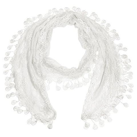 """Women's Sheer Lace Scarf With Teardrops Fringe - 66"""" / width approx. 10"""" without fringes"""