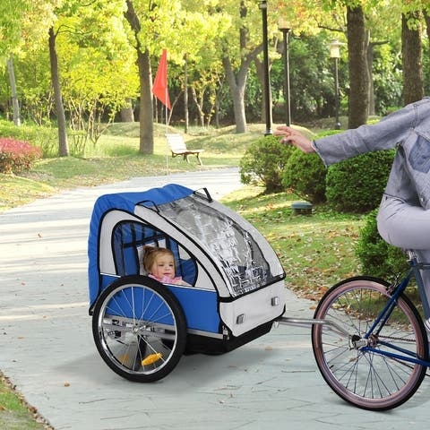 Aosom 2-Seat Kids Child Bicycle Trailer with a Strong Steel Frame, 5-Point Safety Harnesses, & Comfortable Seat, Blue