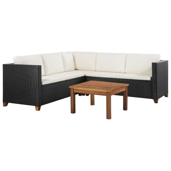 "vidaXL 4 Piece Garden Lounge Set with Cushions Poly Rattan Black - 48.8"" x 25.6"" x 24.4"""