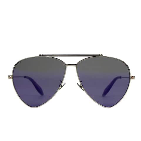 Alexander McQueen Unisex Blue Metal Reflective Aviator Sunglasses AM0058S 442139 7015 - One size