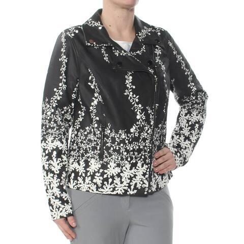 ALFANI Womens Black Floral Jacket Size S