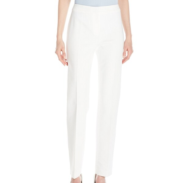 Kasper NEW White Women's Size 4X30 Seamed Slim Fit Solid Dress Pants
