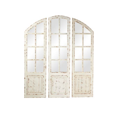 Large White Wood 3-Panel Arched Wall Mirror w Window Frame - 16 x 1 x 60