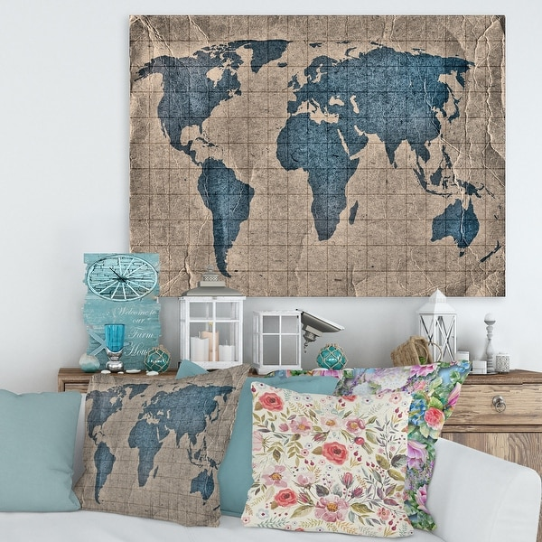 Designart 'Ancient Map of The World I' Rustic Canvas Wall Art Print. Opens flyout.