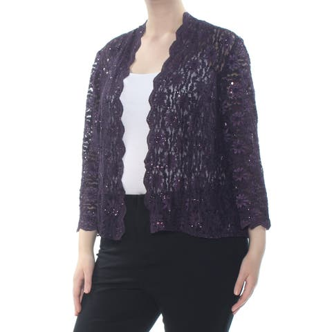 ALEX EVENINGS Womens Purple Sequined Lace Jacket Size 20W