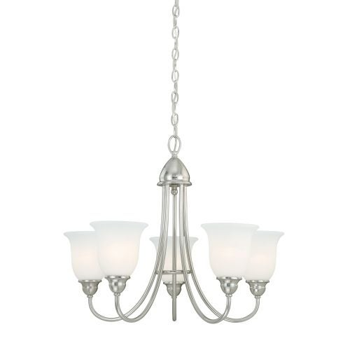Vaxcel Lighting H0068 Concord 5 Light Single Tier Chandelier with Etched Glass Shades - 25 Inches Wide