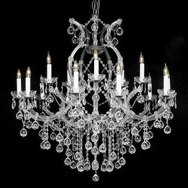 Swarovski Crystal Trimmed Crystal Chandelier Lighting With Faceted Crystal Balls H37 x W38