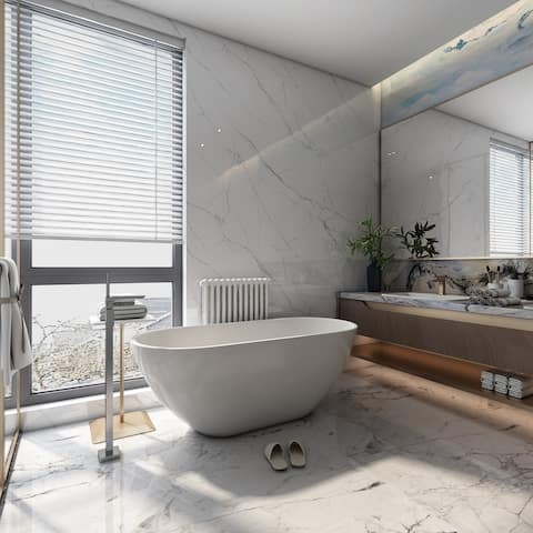 Acrylic Alcove Freestanding Soaking Bathtub