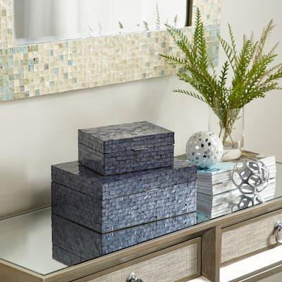 Blue Shell Coastal Box (Set of 2) - 9 x 12 x 5