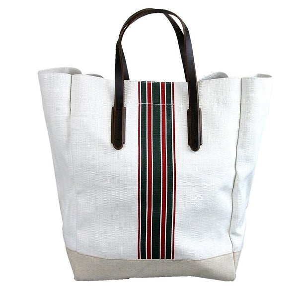 eccc3e5f1294 Shop Gucci Men's White Canvas Large Web Tall Tote Bag 308836 - Free ...