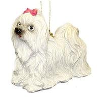"4"" White Maltese Dog Christmas Ornament #86088"