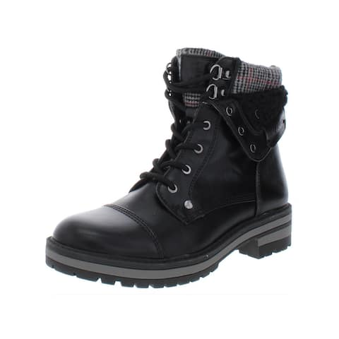Tommy Hilfiger Womens Dyan2 Combat Boots Faux Leather Ankle