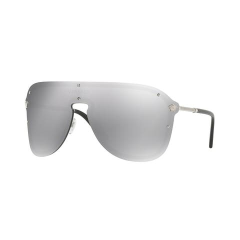 Versace Women's VE2180 10006G 44 Light Grey Mirror Silver Plastic Aviator Sunglasses