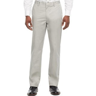 Kenneth Cole Reaction Stretch Chinos Pants Seagull Grey Flat Front