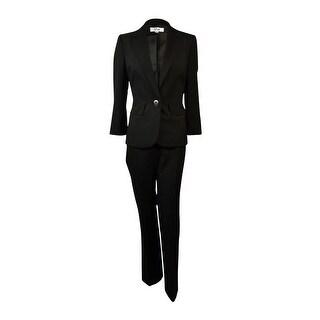 Le Suit Women's Plus-Size Notch Lapel Striped Pant Suit