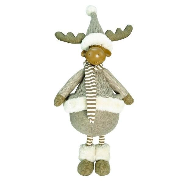"24.75"" Decorative Standing Beige Moose Christmas Table Top Figure - brown"