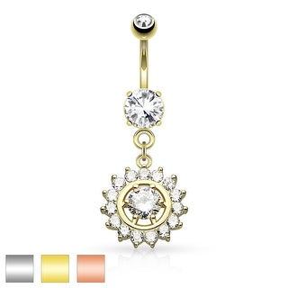 Prong CZ Around CZ Center Dangle Surgical Steel Belly Button Navel Ring - 14GA (Sold Ind.)