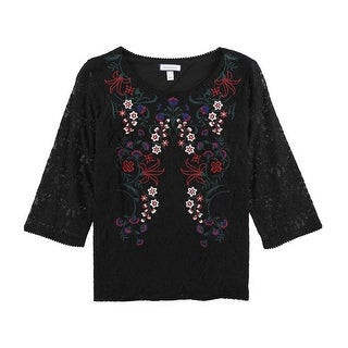 Link to Charter Club Womens Embroidered Lace Pullover Blouse, black, X-Large Similar Items in Tops