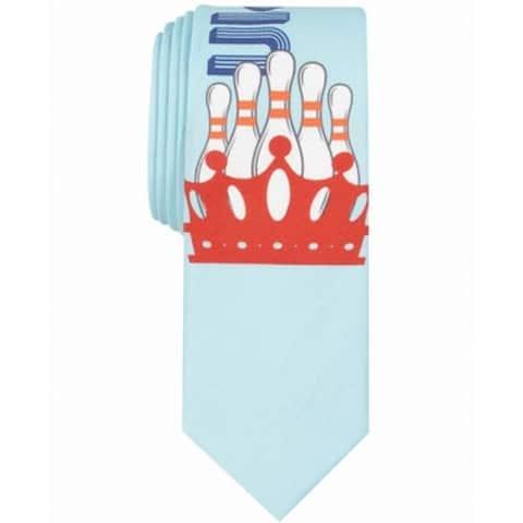 Original Penguin Men's Light Blue King Bowling Pins Slim Neck Tie Cotton