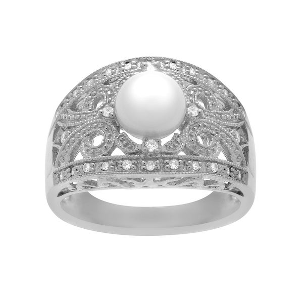 Pearl and 1/10 ct Diamond Ring in 14K White Gold