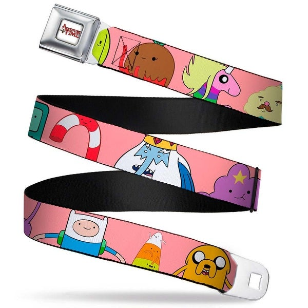 Adventure Time Logo White Full Color Adventure Time Characters4 Pink Seatbelt Belt