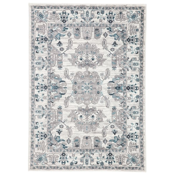Freyr Medallion Area Rug Overstock 23554146 8 10 X 12 Light Grey Turquoise