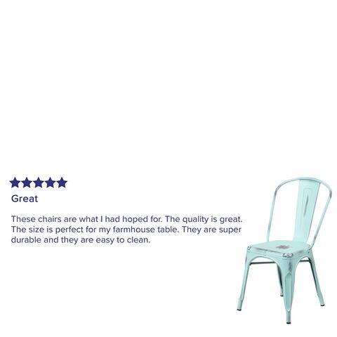 Distressed Metal Indoor-Outdoor Stackable Chair - Kitchen Furniture