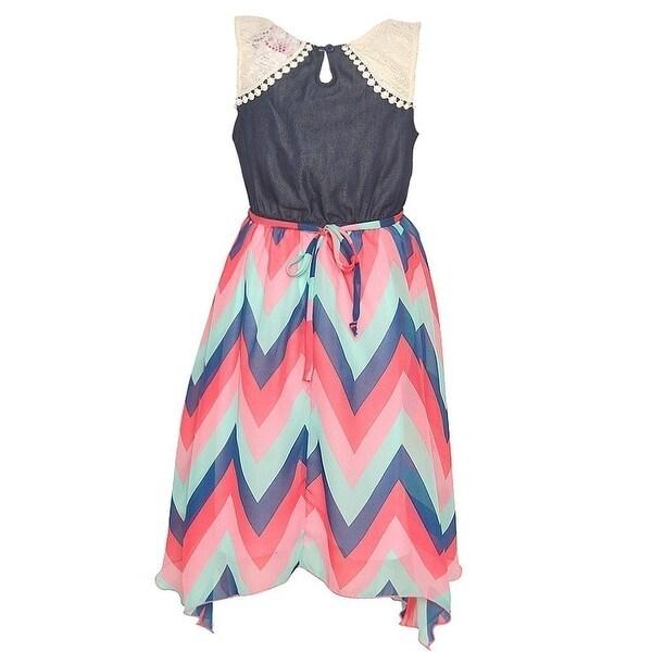 Little Girls Blue Gray Butterfly Detail Overlaid Angled Hem Casual Dress 4-6X
