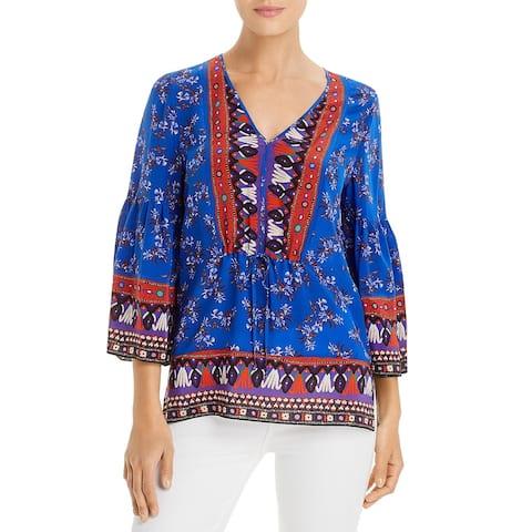 Kobi Halperin Womens Mina Top Silk Boho - Azure Multi