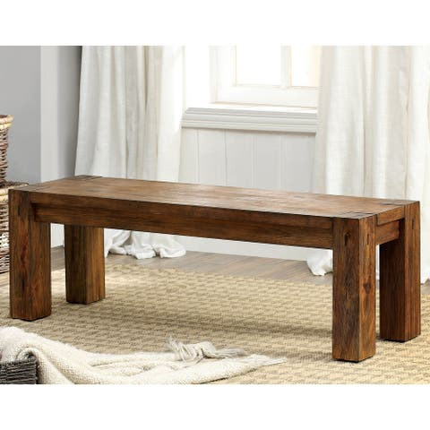 Furniture of America Maiz Rustic Oak Solid Wood Dining Bench