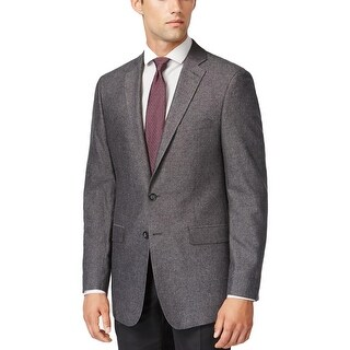 Calvin Klein Mens Two-Button Suit Jacket Wool Herringbone
