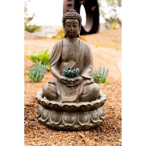 Alpine Corporation Meditating Buddha with Lotus Flower Fountain with LED Light