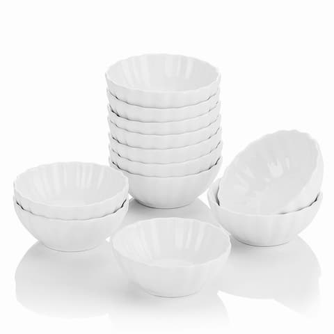 MALACASA Ramekin Ivory White Porcelain 12-Piece 1.85 Oz.Dishes