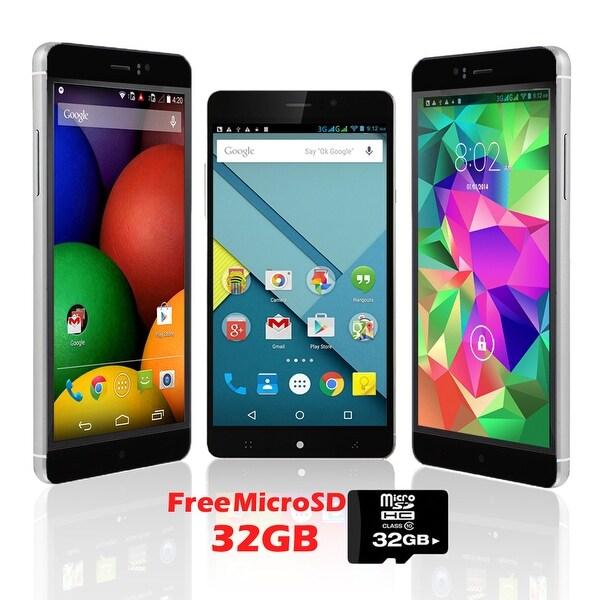 "Indigi® Factory Unlocked 3G 6"" DualSim SmartPhone Android 5.1 Lollipop w/ WiFi + Bluetooth Sync + 32gb microSD Included - Black"