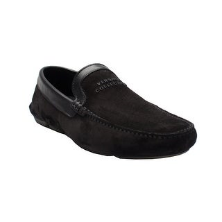 Versace Collection Men's Suede Leather Logo Driving Shoes Black