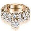4.15 cttw. 14K Rose Gold Antique Round Cut Diamond Engagement Set - Thumbnail 0