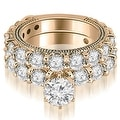 4.65 cttw. 14K Rose Gold Antique Round Cut Diamond Engagement Set - Thumbnail 0