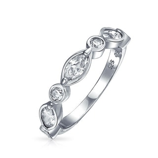 Bling Jewelry Bridal Vintage Style Band Round Marquise CZ Ring 925 Silver