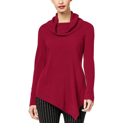 NY Collection Womens Pullover Sweater Asymmetric Cowl